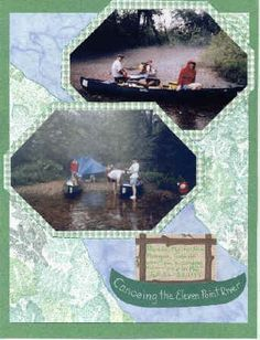 Outdoor Adventure Camping Layout Nature Premade Scrapbook Pages Two-Page Scrapbook Album Layout Fishing Scrapbook Layout Canoeing