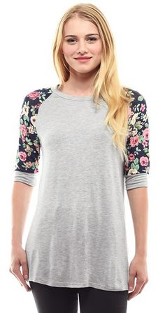 Look what I found on Kokette Gray Floral-Sleeve Raglan Tee - Plus by Kokette Chic Outfits, Fashion Outfits, Floral Sleeve, Online Collections, Raglan Tee, Affordable Clothes, Fashion Company, Casual Chic, Fashion Online
