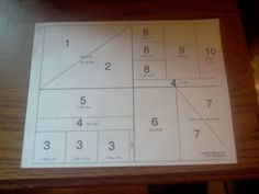 "One Sheet Wonder Template-This is the cutting chart I used for my One Sheet Wonder with a twist. 8 1/2"" x 11"" piece of card stock. Pieces: 1 and 2- 4.25 x 5.5, 3-1.75 x 1.75, 4-.75 x 5.5 and .5 x 5.5, 5-1.75 x 5.5, 6-2.5 x 4.25, 7-4.25 x 3.0, 8-1.25 x 2.0, 9-3.75 x 2.0, 10-3.75x1.5"