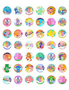 "Care Bears -  Printable 1"" Bottle Caps -  42 Different Designs"