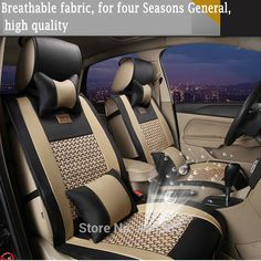 EMS Brand New styling Luxury Leather Car Seat Covers Front & Rear Complete Set for Universal 5 Seat Car Four Season