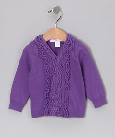 Take a look at this Purple Ruffle Cardigan - Infant by RuffleButts on #zulily today!   $16.99