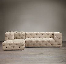 I found the exact website that you can purchase that gorgeous gray tufted deep couch thats on almost everyone's home decor board. Restoration Hardware- Soho Tufted Upholstered Right-Arm Sofa Chaise Sectional $7195 - $9575