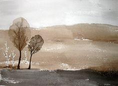 Zen Tree LandscapeORIGINAL Watercolor by PattisWatercolor on Etsy, $34.00