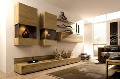 Neutral Living Room with Natural Light and Wall Mounted Units Furniture Design - Inspiring Living Room Wall Unit Designs