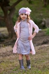 Trish Scully Pink & Grey Grey Ruched Dress-Designer Girl Clothes only $59.99 - Trish Scully Child Fall-Winter