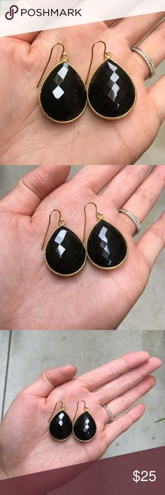New Gold Vermeil Black Spinel Earrings New Gold Vermeil Black Spinel Earrings are gorgeous for day or night! Gold filled french ear wires. 1 inch in length. Jewelry Earrings