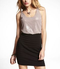SEQUIN TOP PONTE KNIT 2-IN-1 DRESS at Express