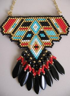 Items similar to Native American Inspired Beadwoven Pendant - Copyright 2015 - Patti Ann McAlister. Beaded Earrings Native, Seed Bead Necklace, Seed Bead Jewelry, Diy Necklace, Beaded Jewelry, Native American Beadwork, Native American Jewelry, Peyote Beading, Bijoux Diy