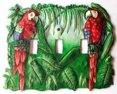 Switch Plate, Light Switch Cover, Parrot Design, Switchplate Covers, Hand Painted Metal Tropical Decor - Switchplate Cover - by SwitchPlateDecor on Etsy Art Tropical, Tropical Interior, Tropical Home Decor, Tropical Design, Tropical Colors, Tropical Birds, Decorative Light Switch Covers, Switch Plate Covers, Light Switch Plates
