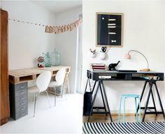 Bureau fabriqué à partir d une palette et tréteaux de table