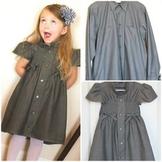 How to transform old shirts into adorable summer dresses for girls – style ideas Old Shirts, Dad To Be Shirts, Little Girl Dresses, Girls Dresses, Summer Dresses, Cute Dresses, Beautiful Dresses, Robe Diy, Diy Dress