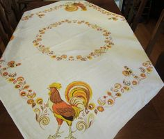 Vintage Tablecloth , 40s Linen Card Table Tablecloth , Yellow Orange Rooster Tablecloth 51 x 46 , Rooster Kitchen Decor , Farmhouse Decor