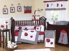 Ladybug Nursery Wall Painting And Decorating Ideas Decorations Crib Bedding Sets Mod Baby Room Designs Decor