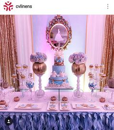 Cinderalla Inspired Birthday Party Dessert Table and Decor