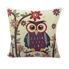 Owl Printed Cushion Home Decor 43x43cm/17x17'' Linen&Polyester Decorative 1Pcs/lot