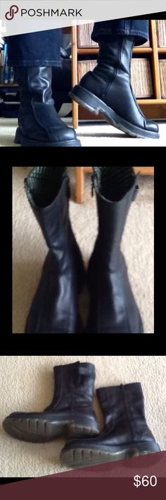 ONE DAY SALE DR. MARTENS BLACK BIKER BOOTS Awesome boots in mint shape barely worn, practically new.  This boots are not only super comfortable but look amazing with jeans, tights or even skirts.  Women's size 8 and Men's size 6.  Very rare style. Dr. Martens Shoes Combat & Moto Boots