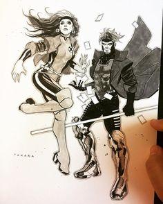 Rogue and Gambit by Marcio Takara