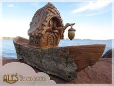 Acorn Boat, cottonwood bark carving - a truly unique, one of a kind home decoration - special nautical gift