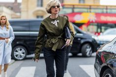 Not one, but two bows. #refinery29 http://www.refinery29.com/2016/10/125501/pfw-spring-2017-best-street-style-outfits#slide-25
