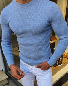 Blue Sweater Outfit, Men Sweater, Sharp Dressed Man, Well Dressed Men, Dress Suits For Men, Men Dress, Mens Fashion Blazer, Plus Size Men, What To Wear Today