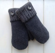 Women's Dark Gray Felted Wool Repurposed Sweater Mittens Size Medium with White Fleece Lining and Vintage Buttons Ready to Ship by SewforYou on Etsy