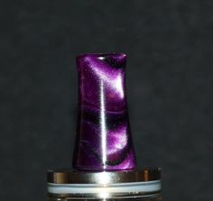 Dark purple black custom handmade WIDE bore drip tip. Gallery Tips on FB https://www.facebook.com/gallerytips give us a like! #vapelife #vape #driptips #driptip #ecigs