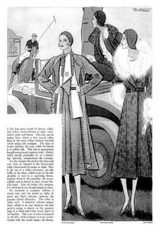 1930's Fashion-Style-The pages above stated that suits adopt coats for various sports and that the coat could be longer or shorter, but that longer styles would probably be more stylish. These suits and coats were considered perfect for watching polo or lunching at the country club as were tweeds and duo toned wools with lilac, black and grey all mentioned.