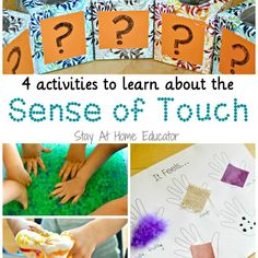 Looking for easy sensory activities for preschoolers? These FOUR sense of touch preschool activities are easy to do, and everyone will enjoy them! This is perfect for your Five Senses preschool theme! - Stay At Home Educator Five Senses Preschool, 5 Senses Activities, My Five Senses, Body Preschool, Kindergarten Science, Preschool Curriculum, Preschool Themes, Preschool Lessons, Preschool Art