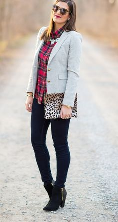 RED PLAID BUTTON DOWN WITH GREY BLAZER + BLACK BOOTIES