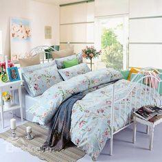 Top Grade Fresh Pastoral Floral Branch 100% Cotton 4 Piece Duvet Cover Sets