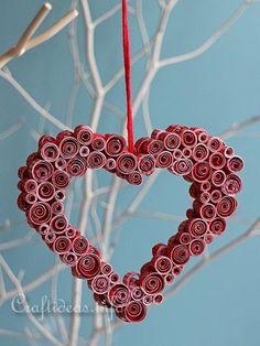 Valentine's Day Craft - Quilled Paper Heart Decoration 1