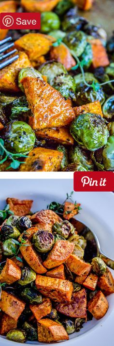 Roasted Sweet Potatoes and Brussels Sprouts - Roasted vegetables (like these Brussels sprouts and sweet potatoes) are superior in almost every way. Make them ahead and reheat! Save on  Ingredients  Ve (Indoor Bbq Recipes)