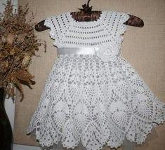 Crochet Baby Dress Pattern, Crochet Lace Dress, Baby Girl Crochet, Crochet Baby Clothes, Baby Knitting Patterns, Baby Dress Clothes, Little Girl Dresses, Lidia Crochet Tricot, Toddler Dress
