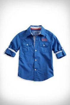 Little Boy Micro-Plaid Shirt (2-7)   GUESS.com