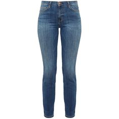 Current Elliott The High Waist Ankle Skinny Jeans ($140) ❤ liked on Polyvore featuring jeans, pants, bottoms, calças, denim, blue, skinny jeans, high waisted blue jeans, skinny fit jeans and high rise skinny jeans