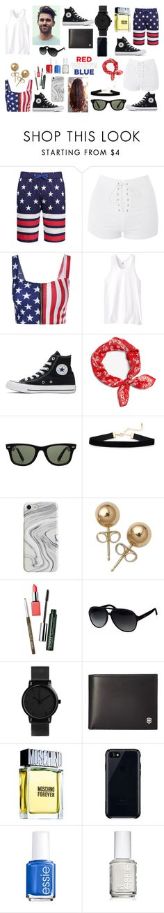 """His & Hers: 4th of July: Contest Version"" by photographystyle on Polyvore featuring Topshop, Russell Athletic, Converse, Ray-Ban, Recover, Bling Jewelry, Clinique, Gucci, Victorinox Swiss Army and Moschino"