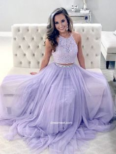 d15616f060 A Line Two Piece Halter Lavender Lace Long Prom Dresses with Beading,  Elegant Evening Dresses