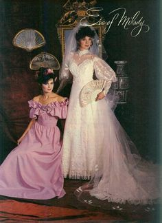Eve Of Milady Wedding Gowns, Wedding Dresses, Big Shoulders, Vintage Wedding Photos, Headpiece, Ruffles, Satin, Ring, Lace