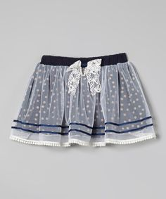 This Blue Polka Dot Overlay Skirt - Infant, Toddler & Girls by Richie House is perfect! #zulilyfinds