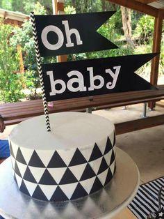 Monochrome Baby Shower cake