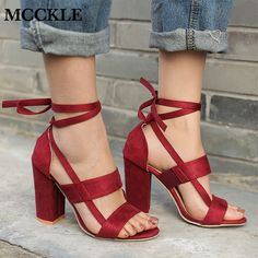 Cheap High Heels, Buy Directly from China Suppliers:MCCKLE Women Sandals Ankle Strap High Heels Ladies Summer Shoes Elastic Band Ankle Cross Strap Female Square Heels For Woman