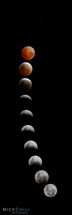 Evolution of an Eclipse, by Nick Chill / The full lunar eclipse from April 15th, 2014. It includes the star Spica to the right of the red moon. -- #lunareclipse #eclipse #moon