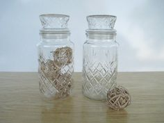 Tall Pineapple Pattern Jars   Vintage Planters by celladores