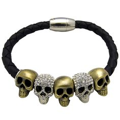 Butler & Wilson leather cord skull bracelet