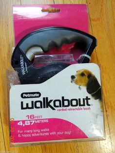NEW! WALKABOUT PETMATE CORDED RETRACTABLE LEASH 16' LONG DOGS UP TO 44 LBS. #Petmate