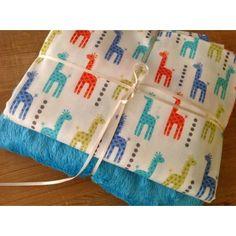 Michael Miller Mini Giraffes in blue & turquoise plush