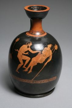 13 Terracotta red-figure squat lekythos, Greek- (430-410 BC):