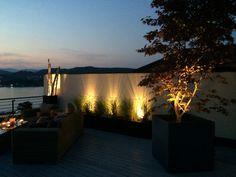 Abendstimmung am Wörthersee auf einer Dachterrasse Klagenfurt, Roof Terraces, Water Pond, Lawn And Garden