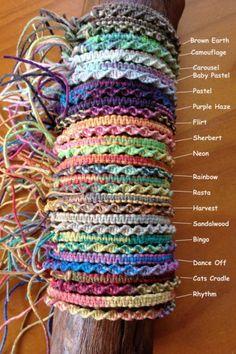 Variegated Hemp Handmade adjustable Friendship Bracelet/Anklet/Wristband - Square or Twist Knot Style - Pulseras - Bracelets Diy Bracelets Easy, Thread Bracelets, Summer Bracelets, Braided Bracelets, Macrame Bracelets, Handmade Bracelets, Braclets Diy, Diy Bracelets With String, Embroidery Floss Bracelets